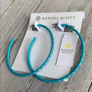 🌟Kendra Scott Val Hoop Earrings Aqua & Crystal